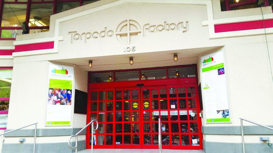 The opening doors to the Torpedo Factory Art Center.