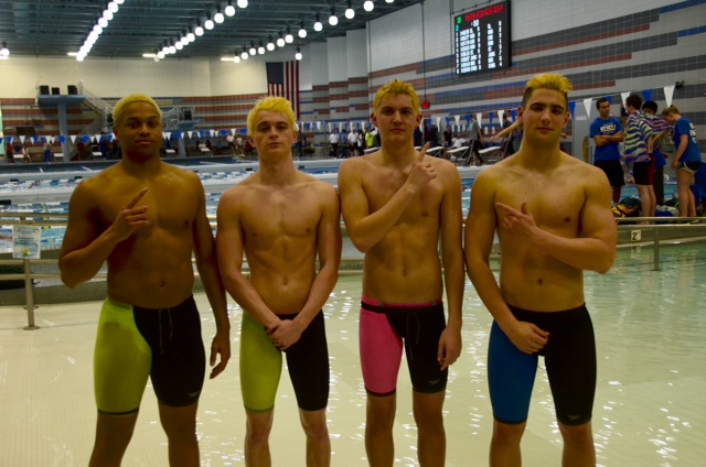 The+relay+team+poses+for+a+picture.+%28left+to+right%29+Senior+Aaron+Boyd%2C+Senior+Gabe+Martino%2C+Junior+Ben+Padrutt%2C+and+Senior+Luke+Daggle.