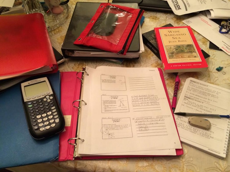Many students amass a pile of homework like the one above each night.