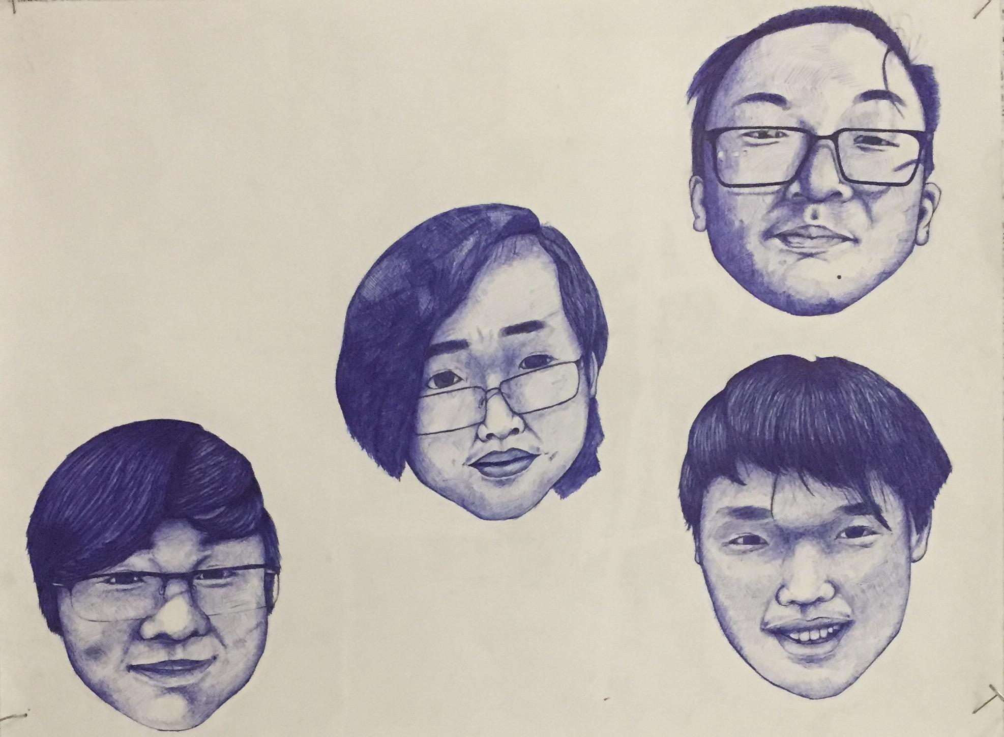 Eighth grader Duc, from Holmes Middle School, drew this drawing called Blue Smiles.