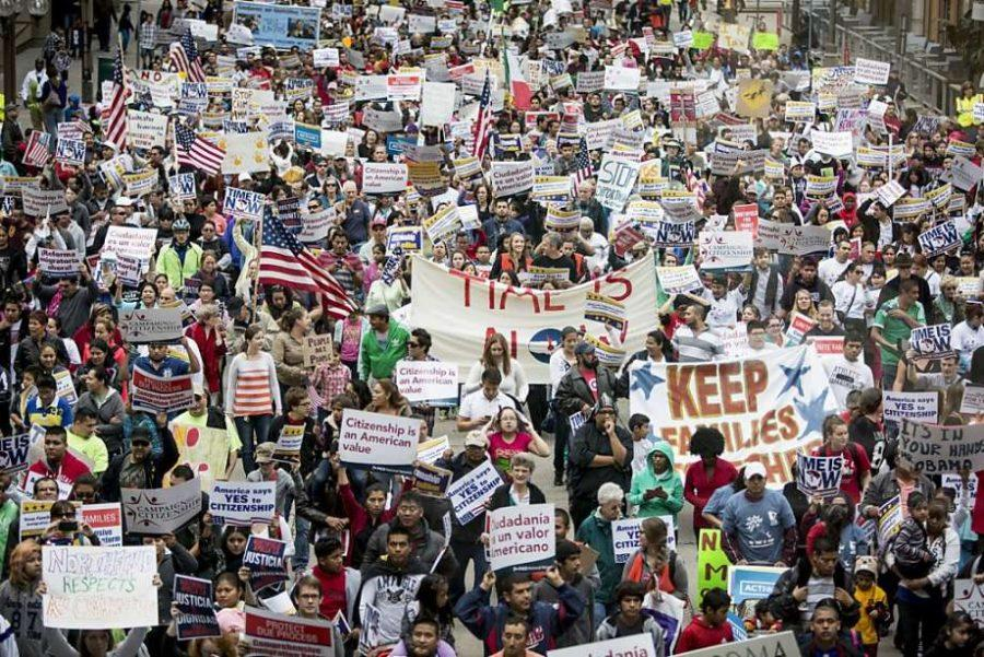 Protests trying to convince Supreme Court to keep Obama's plan.