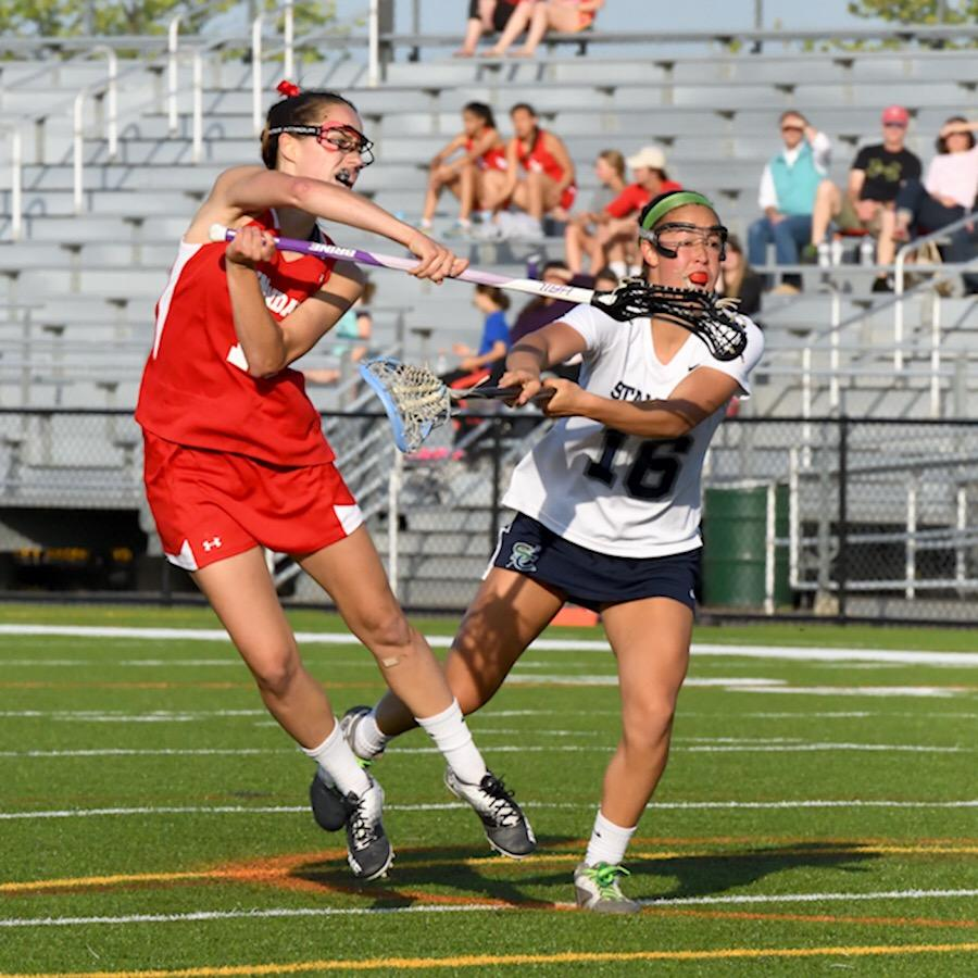 Senior Ashley Britton going for a pass against South County in the finals.
