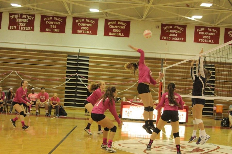Senior, Katie Garish goes up to spike the ball on the opposing team