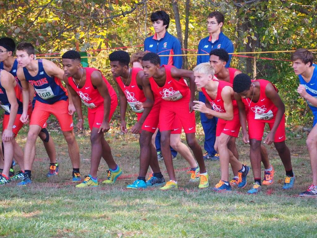 The Boys Cross Country team lines up at the starting line at the Patriot Conference Championship Meet