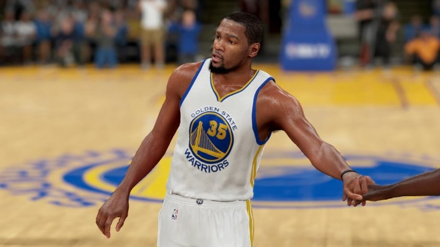 All-Star forward Kevin Durant in his new Golden State uniform on 2K17.