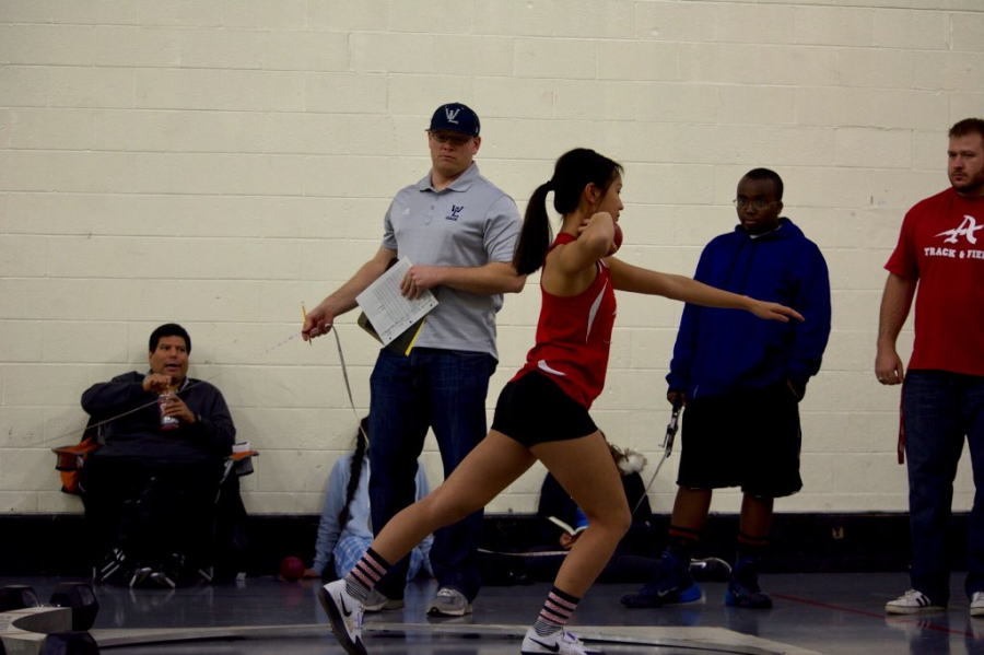 Senior Amanda Nguyen, winds up  at a meet on Dec 6.