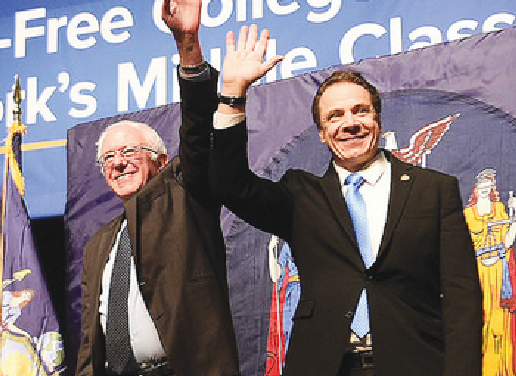 Senator Bernie Sanders of Vermont supports New York Governor Andrew Cuomo's affortable college plan.