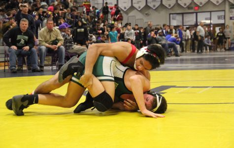 Junior Alan Kokilananda grabs his opponent's leg in one of his matches