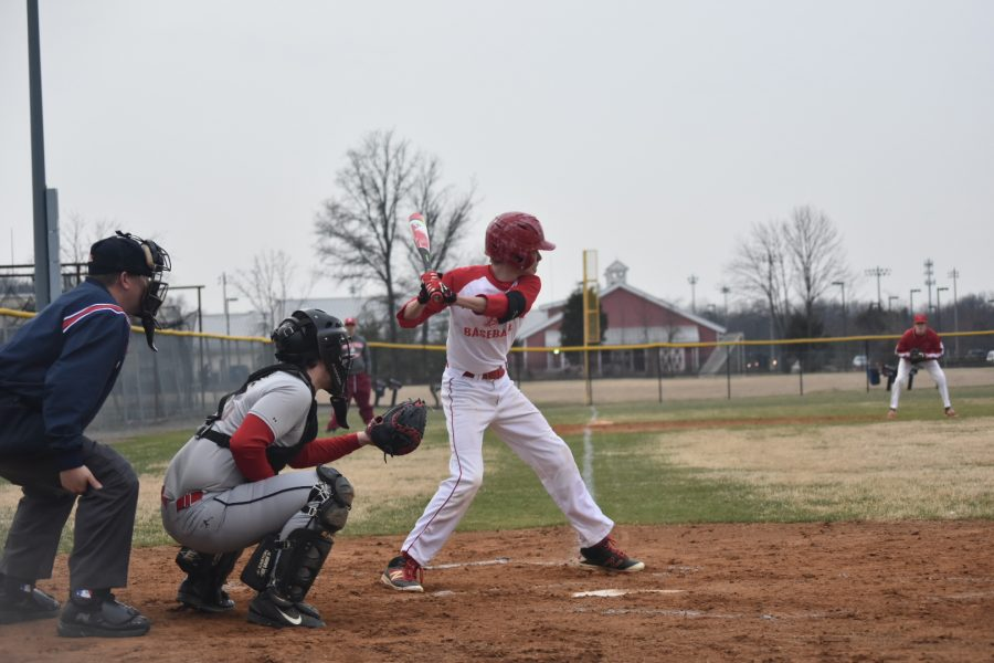 Sophomore+Ethan+Zimmerman+swings+at+a+pitch+in+a+scrimmage+against+the+Park+View+Patriots+on+March+6.+