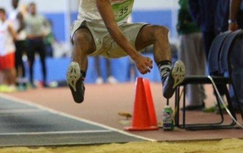 Junior Matthew McKiver jumping at the last meet.