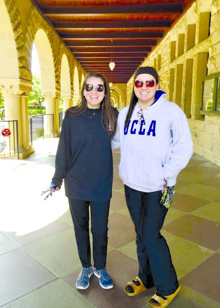 """Sisters, junior Serene and sophomore Zain Ghul at Stanford university in California. """"It was so much fun,"""" Zain Ghul said. """"The city is so lively and it is very colorful."""