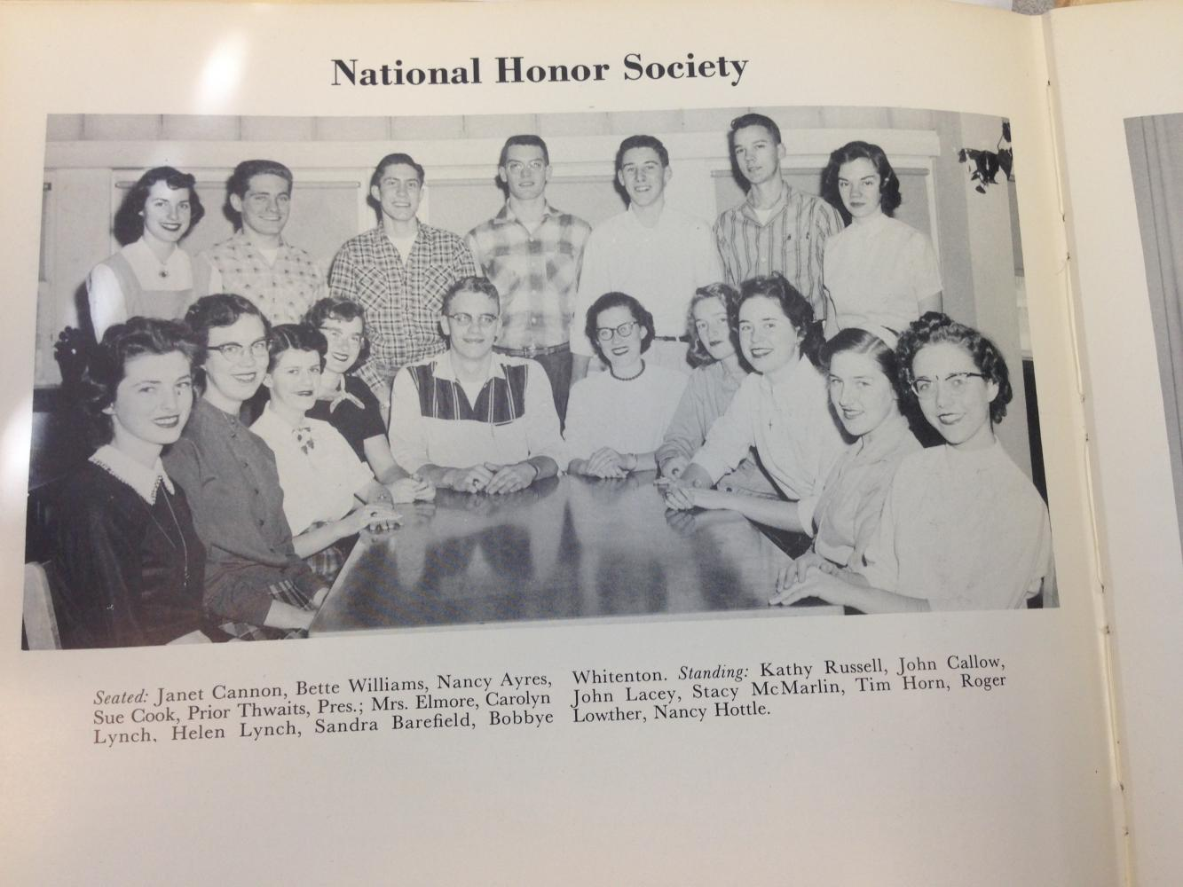 Members of the first National Honor Society in 1957.  Some activities that they began are College Nights where juniors and seniors talk to representatives from many colleges. They would also offer scholarships to their members by raising money through bake sales.