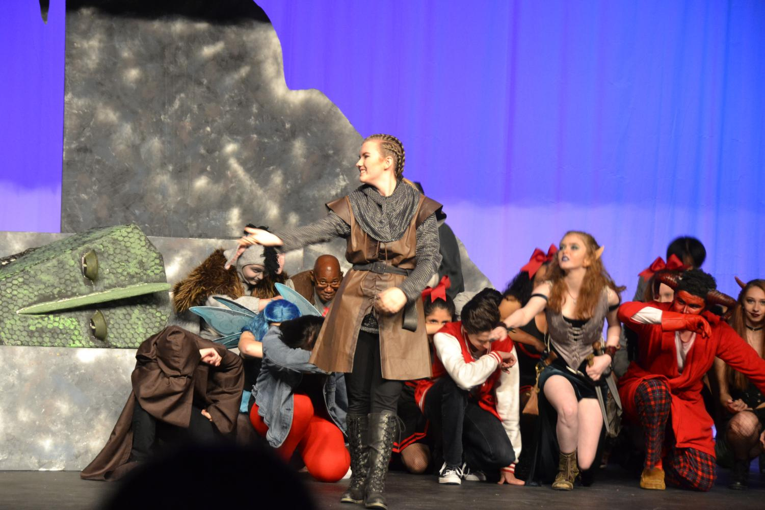 Lead+character%2C+Tillius+aka+junior+Emily+Trachsel+takes+her+bow+and+then+welcomes+her+sister+on+to+the+stage+with+her.
