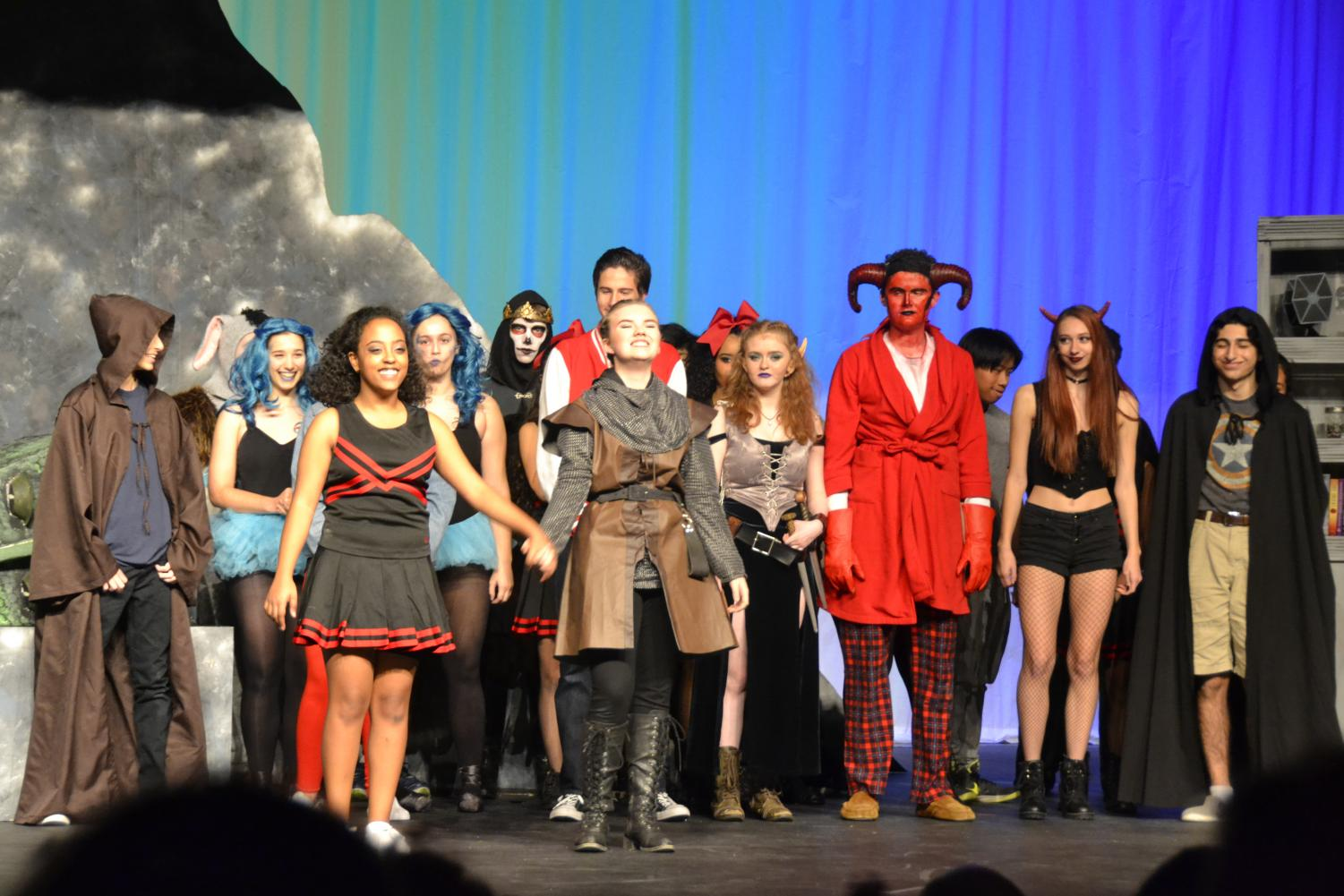 Juniors%2C+Emily+Trachsel+%28Tillius%29+and+Rediate+Zewdu+%28Agnes%29+come+up+from+a+bow+for+the+noisy%2C+cheering+audience.