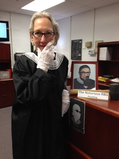 Administrative+Assistant+Susan+Hertzler+dresses+up+as+the+Notorious+Ruth+Bader+Ginsberg.