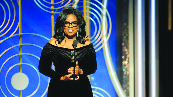 Oprah Winfery gives a speech at the Golden Globes after receiving the Cecil B. DeMile lifetime achievement award. Although many people were joking about the idea of Oprah becoming the next president, after her speech about unity and coming together, many people are now urging her to run for office.