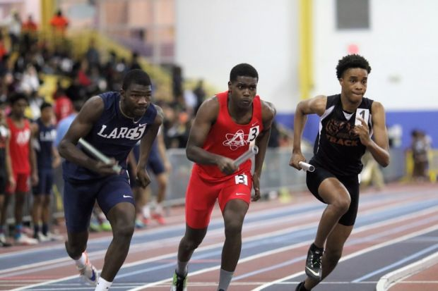 Senior Ahmed Ibrahim runs the 500 meters at the Prince George's County Learning and Sports Complex in Prince George's County, Maryland on Jan. 13.