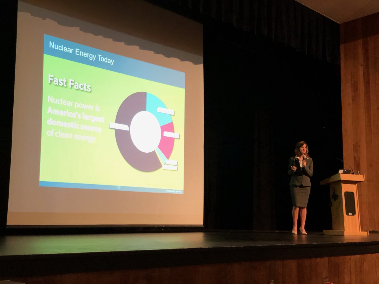 AHS alumna Suzanne Jaworowski talks to students about the use of nuclear energy today