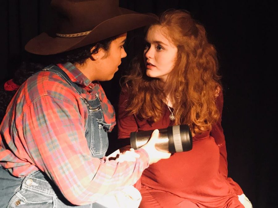 In+the+blackbox+play%2C+%E2%80%9CLate%2C+A+Cowboy+Song%2C%E2%80%9D+Sophomore+Makayla+Collins%0Aportrays+the+cowboy%2C+Red%2C+and+Gravitt%2C+portrays+the+housewife%2C%0AMary%2C+and+they+share+an+intimate+moment