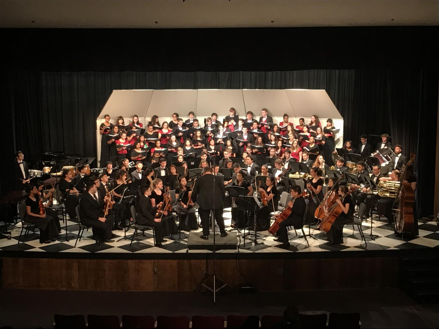 The Annandale Singers, Combined Women's Chorus, Philharmonic Strings and Wind Ensemble perform at the Trilogy Ensemble Concert.