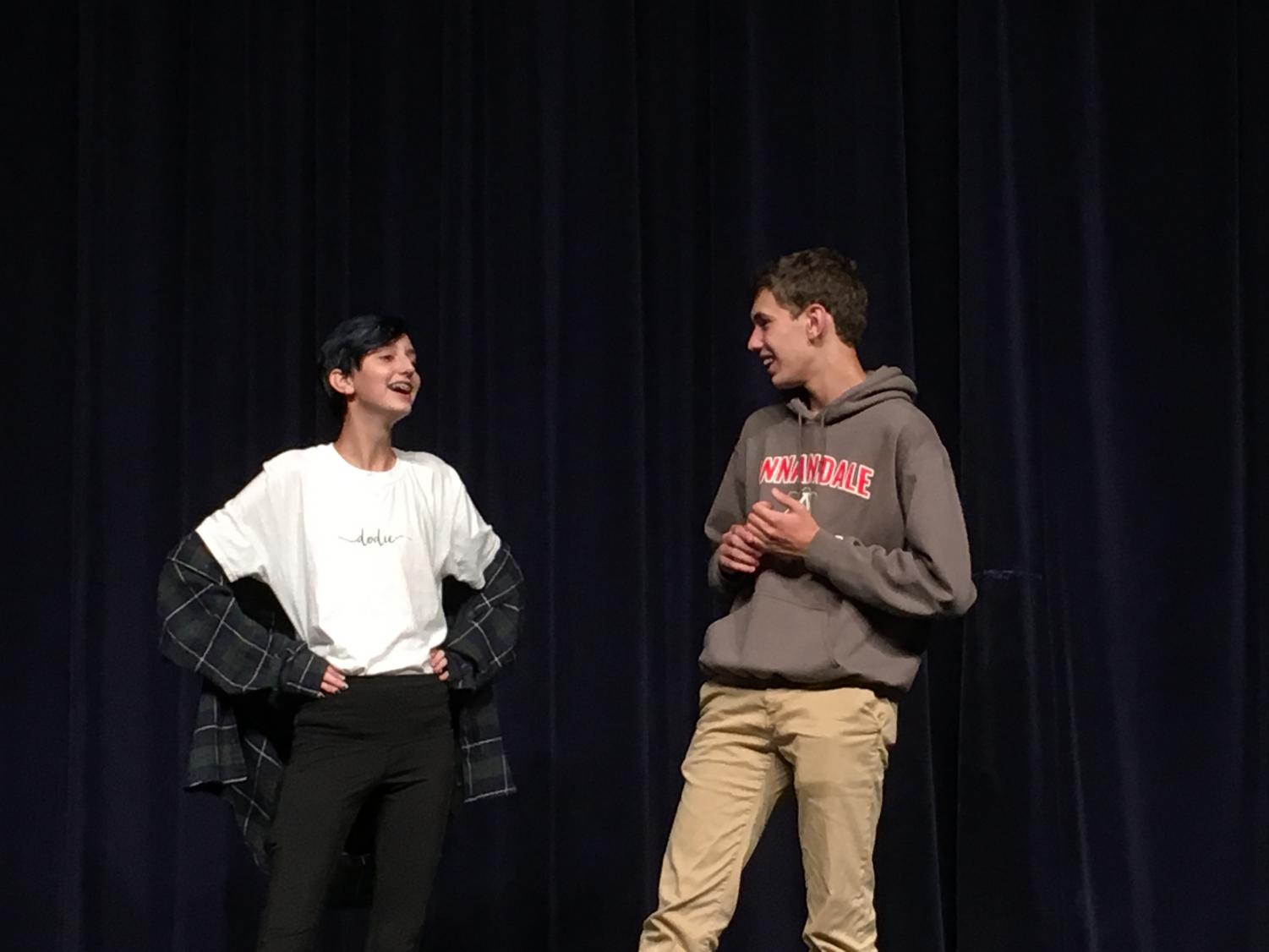 Joe Courtney (Right) and Hunter Duggan (Left) participate in an improv scene.
