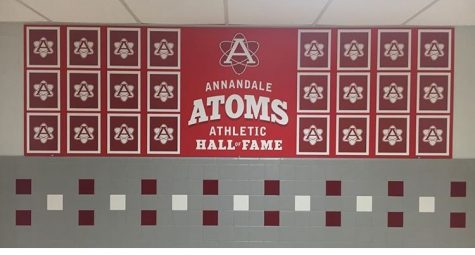 The Athletic Hall of Fame wall located in front of the main gym will unveil photos of inductees after the induction ceremony.