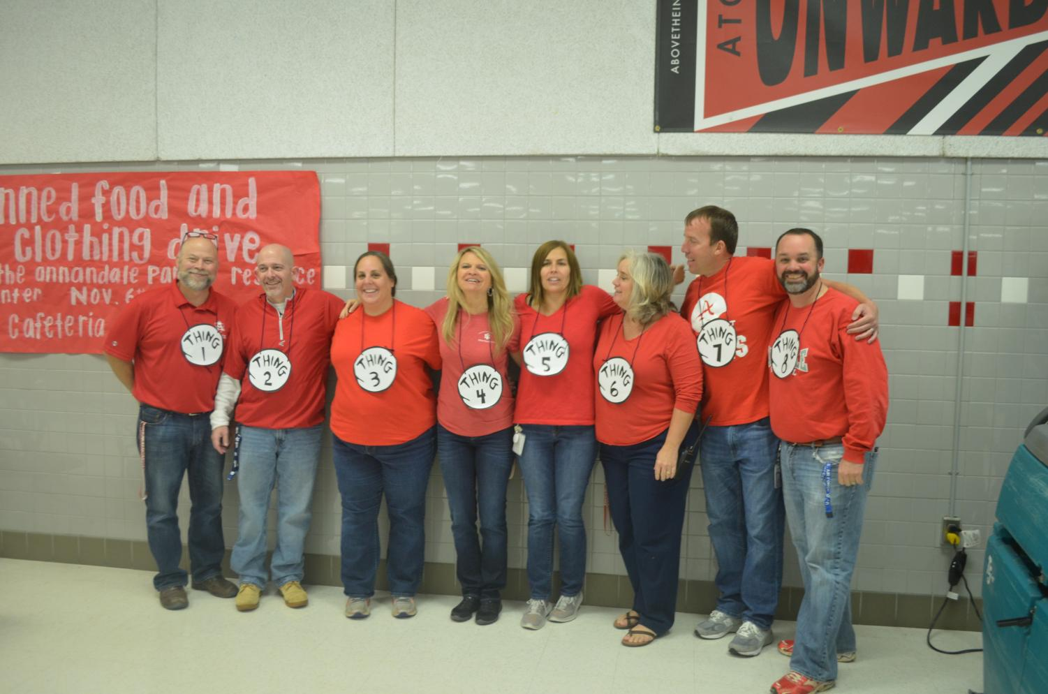 Administrative staff members dressed as Things 1-8 from Dr. Seuss' book, The Cat in the Hat for last year's contest