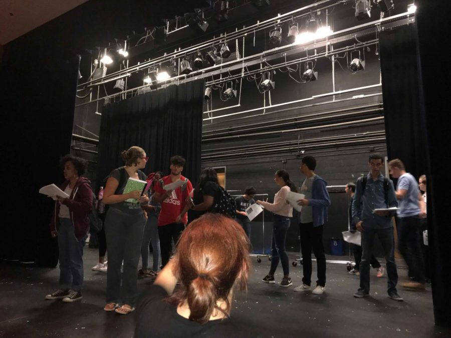 Director+Katherine+Brunberg+guides+the+actors+in+their+blocking+for+the+fall+play.