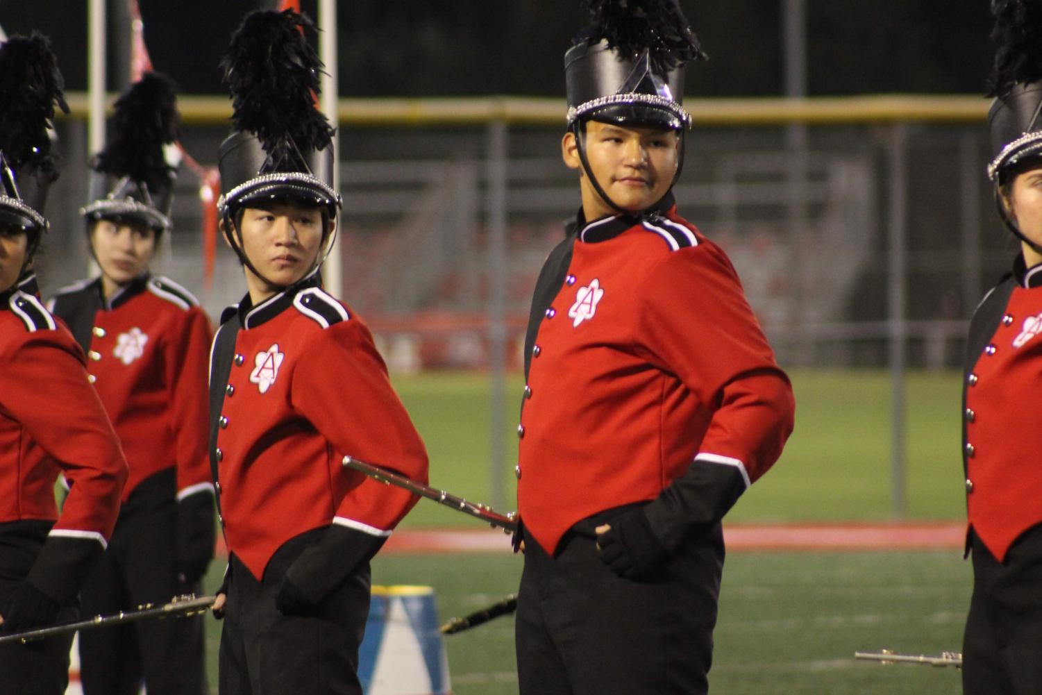 Marching Band Players pose during the song
