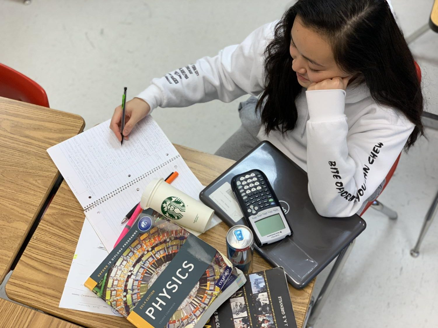 Senior Jasmine Phan works for hours on an overload of assignments every night after getting home from extracurricular activities and clubs at school.