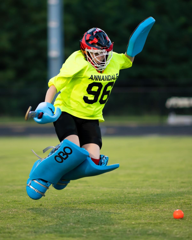Senior Sarah Hawkins jumps for the ball during an AHS field hockey game.