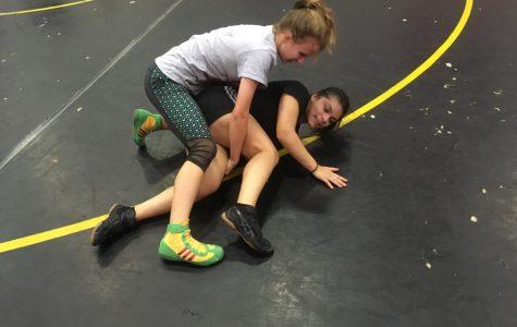 Sophmore Eva Gomez graples sophmore Breanna Sanchez during a AHS varisty wrestling practice.
