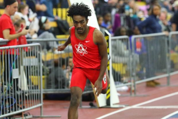 Senior+Ayman+Elhag+races+the+300+meter+dash+during+the+Montgomery+Invitational+on+Jan.+12+where+he+qualified+for+states+and+placed+second+with+a+time+of+36.30.+He+also+ran+the+4x200+meter+relay+where+they+placed+third+with+a+time+of+1%3A33.77.+