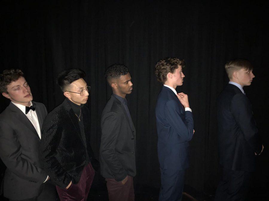 (From Left to Right) seniors James Gore, Matt DInh, Idris Dahir, Cam Foti and Alex Bellem prepare for their Mr. Elegance acts backstage.