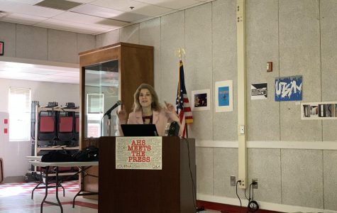 "Carolyn Presutti speaks at ""AHS Meets the Press"""