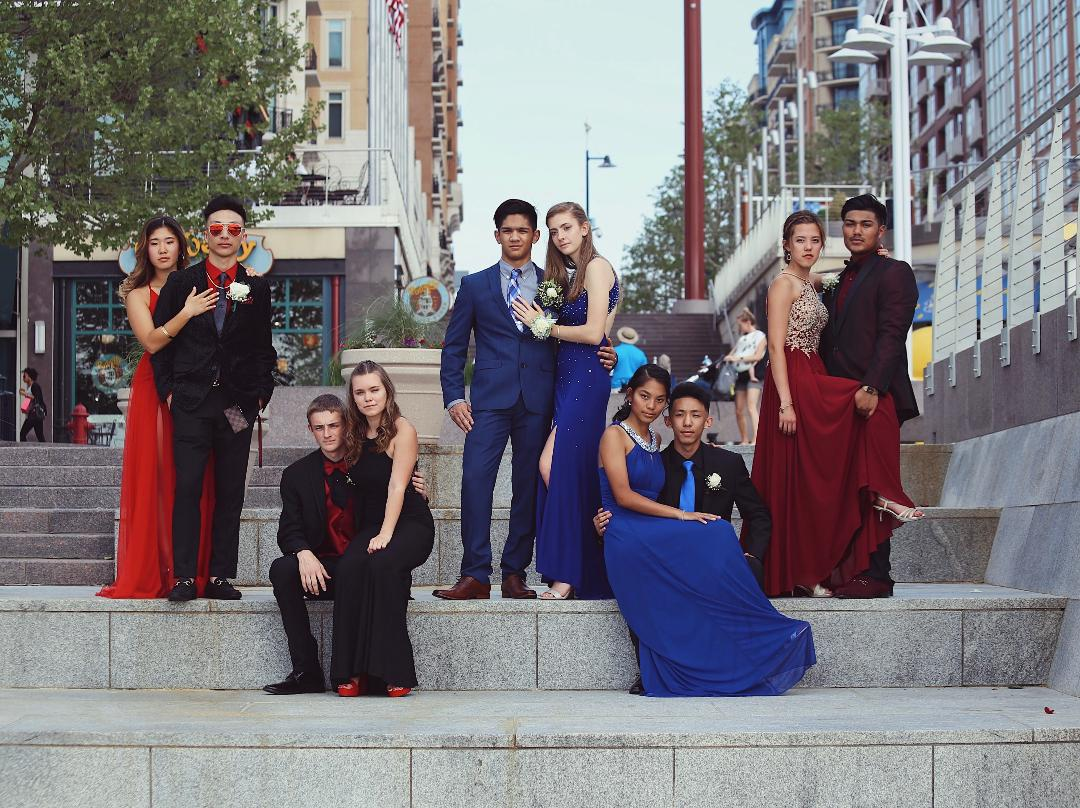 "The steps from the Belvedere at National Harbor (11 miles, 24 min away) is a popular spot for unique Prom pictures. ""Some people were a little disappointed about the location being so close but I don't think anybody minded once we got there and saw how nicely it had been decorated,"" alum class of 2018 Megan Lee said. ""It helped that our parents were like our personal photo crew, telling us to move over and fix our dresses and all that."""