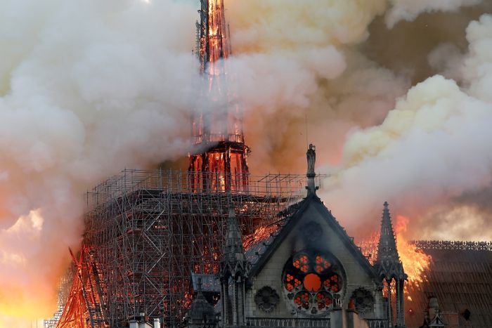 Fire engulfs Notre Dame Cathedral