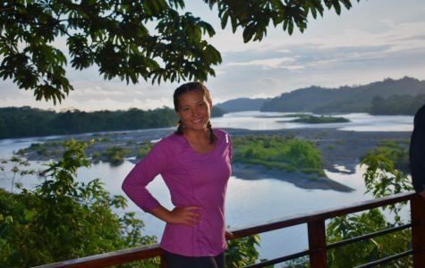 """Sophia Baraban enjoys the sunset after her first day of service in the Amazon. """"The lodge I was staying in had the most beautiful view of Río Napo,"""" Baraban said."""