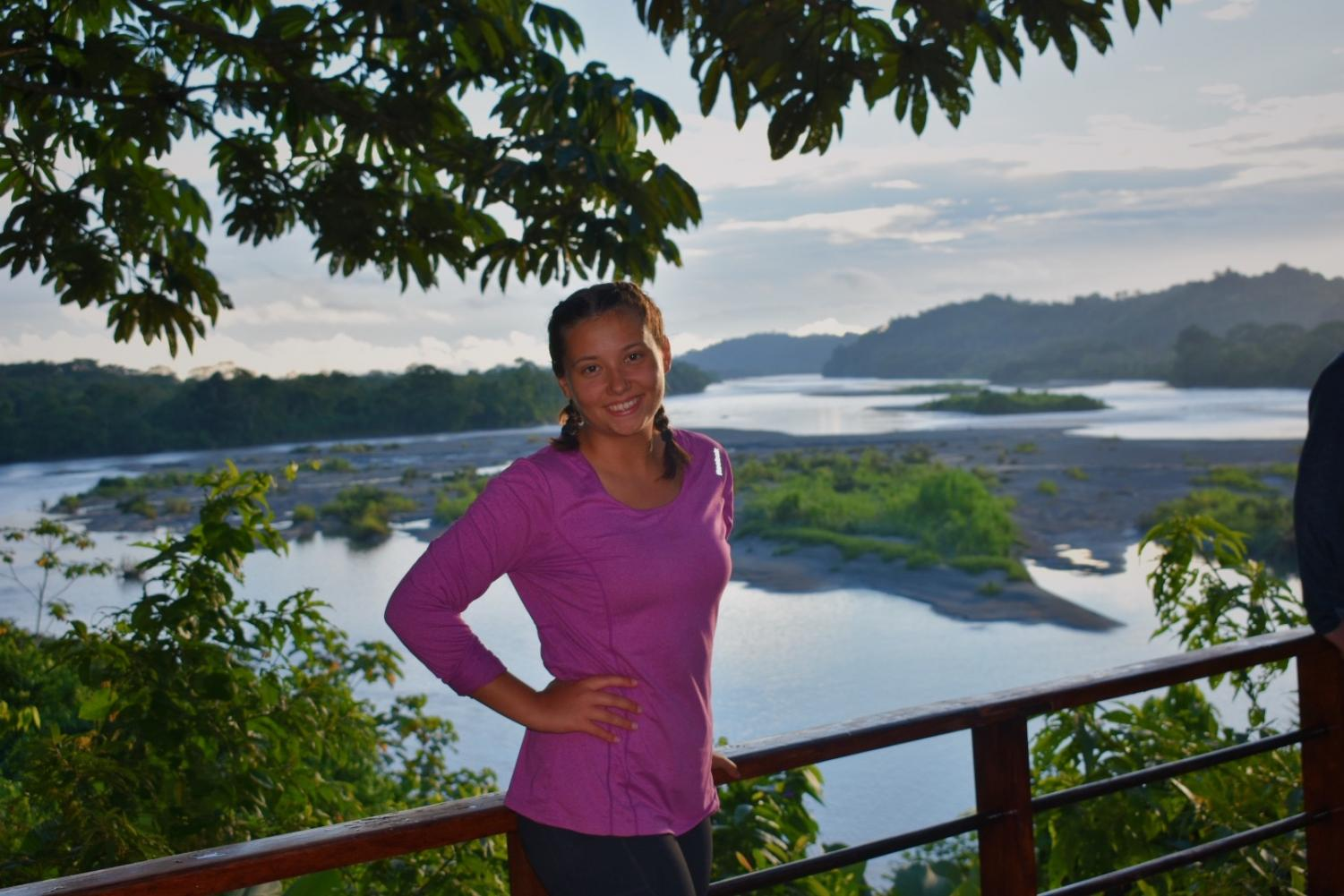 "Sophia Baraban enjoys the sunset after her first day of service in the Amazon. ""The lodge I was staying in had the most beautiful view of Río Napo,"" Baraban said."
