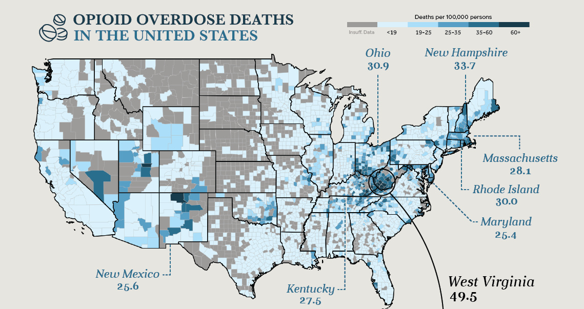 This image shows the effect and range of the opioid crisis across America.