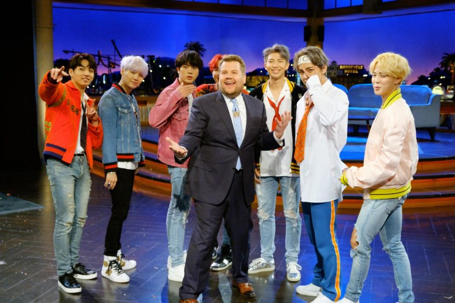 BTS+poses+with+James+Corden+at+another+event.