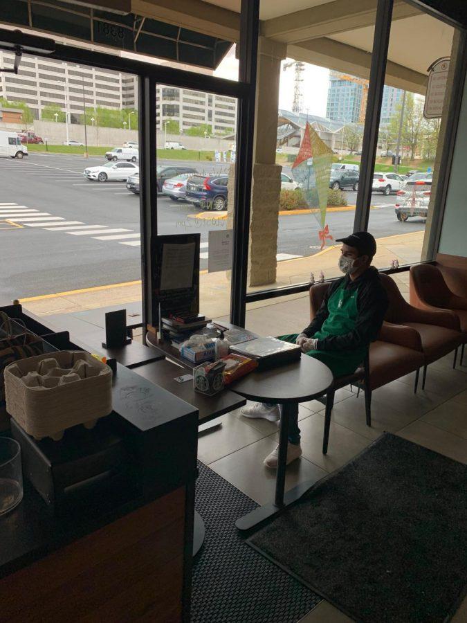 Rivas takes a break during his shift.