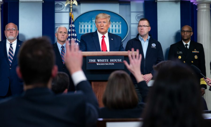 Trump holds coronavirus task force press briefing on March 22.