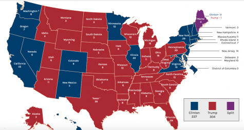 Although Hillary Clinton (D) won the popular vote in the 2016 presidential election by a margin of almost 2.9 million votes, Donald Trump (R) won the election since he won 77 more electoral votes. Specifically, this was made possible by Trump winning swing states like Michigan, Wisconsin and Pennsylvania.