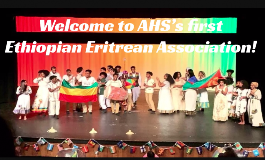 """Seniors Haleluya Worku and Kidist Bekele present during the Ethiopian-Eritrean Association's interest meeting. """"My favorite part of the first meeting was when everyone started talking about what they love about Ethiopia and Eritrea and it felt like we were this one big friend group,"""" Worku said."""