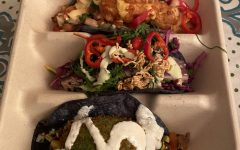 Pictured are the shake down shrimp, ahi tuna and fried avocado tacos.