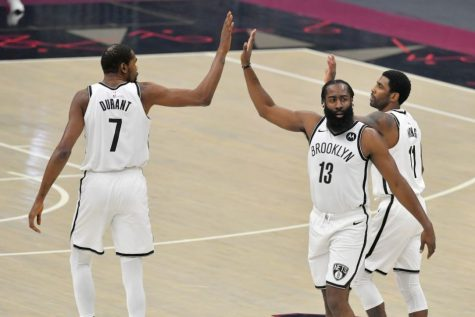 Kevin Durant, James Harden, and Kyrie Irving form a super-team for the Brooklyn Nets, who have a record of 20-12