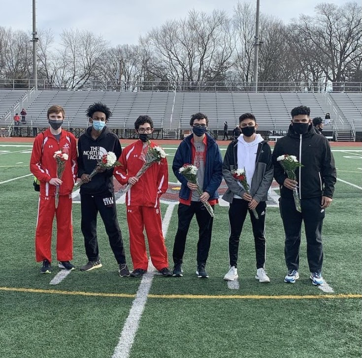 Boys pictured at the track senior night on Feb. 6, 2021