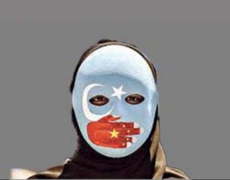 The blue mask is worn during protests against the Uyghur concentration camps. It symbolizes how China is silencing the Uyghurs.