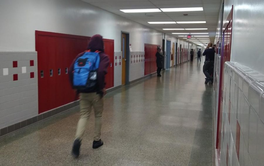 Mostly+empty+hallways+during+passing+periods+is+much+different+than+the+usual+crowded+hallways+with+students+pushing+past+each+other.